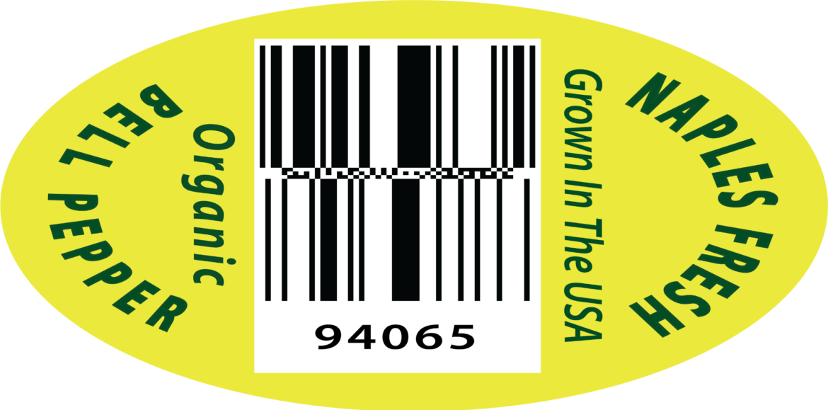 Organic Bell Pepper PLU label sticker